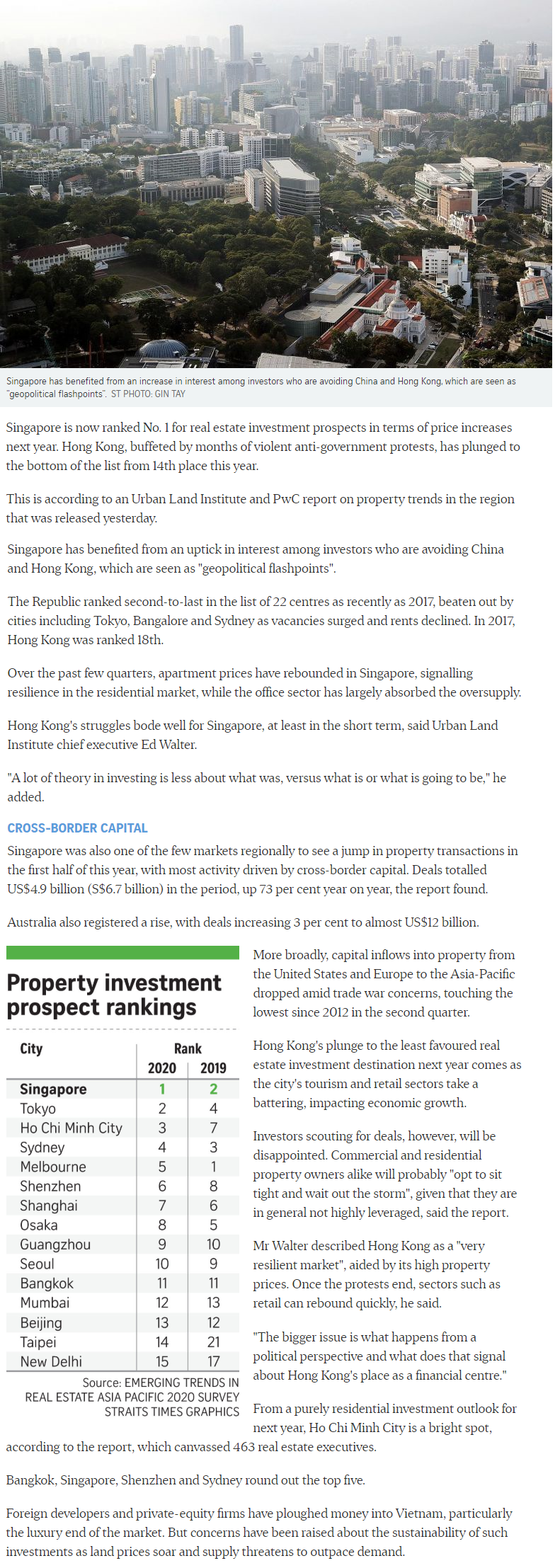 Pefect Ten - Singapore Tops Region For Property Investment Prospects