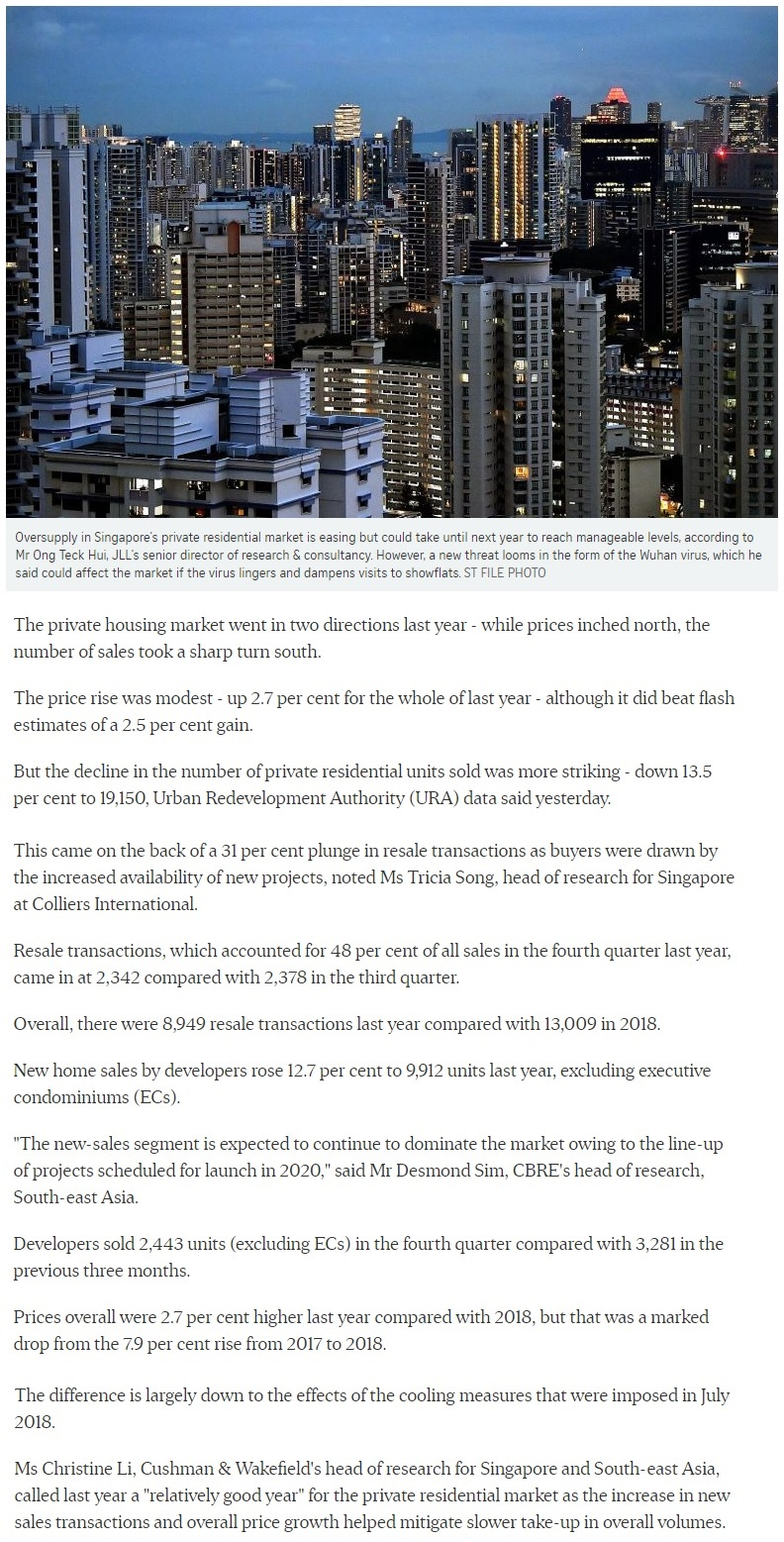 Pefect Ten - Singapore private home prices inch up 2.7% for 2019 Part 1