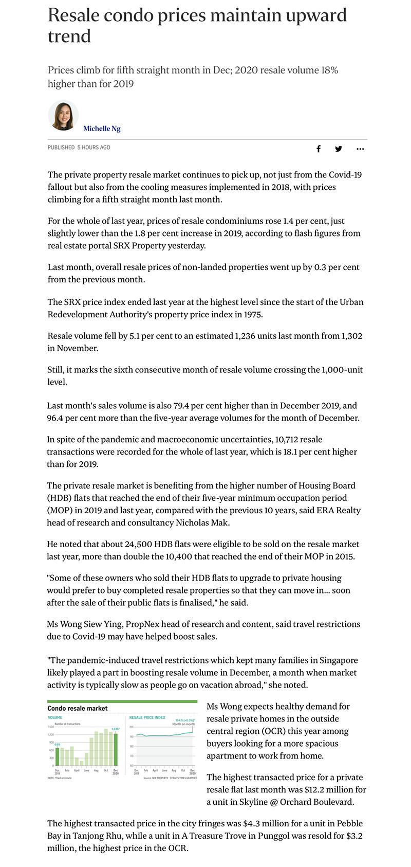 Pefect Ten - Resale condo prices maintain upward trend
